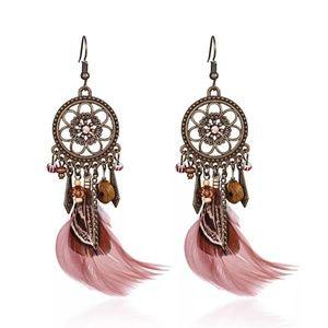 Feather boho earrings glass beads mandala new